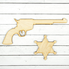 Ковбойский пистолет 21 × 15 см, со значком