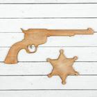 Ковбойский пистолет 21 × 15 см, со значком, тёмно-коричневый