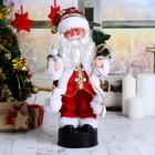 Дед Мороз в разноцветной жилетке , русская мелодия  35 см, свет