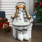 """Кукла интерьерная """"Девочка в белом платье и полосатом шарфике"""" 46 см"""