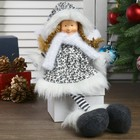 """Кукла интерьерная """"Ангел-девочка в чёрно-белой шубке с висячими ножками"""" 50 см"""