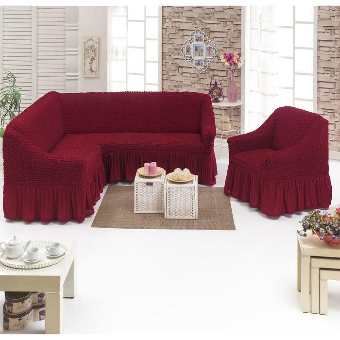 Чехол для мягкой мебели DO&CO, диван угловой 2-х предметный, кресло 1шт, бордовый, п/э