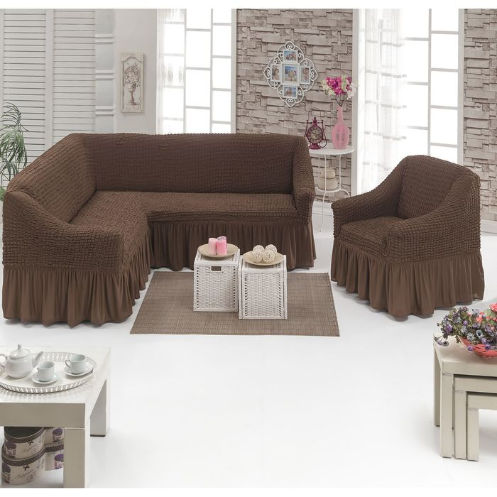 Чехол для мягкой мебели DO&CO, диван угловой 2-х предметный, кресло 1шт, шоколадный, п/э