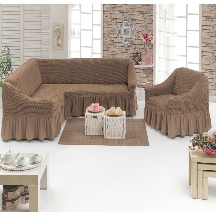 Чехол для мягкой мебели DO&CO, диван угловой 2-х предметный, кресло 1шт, сер-корич, п/э