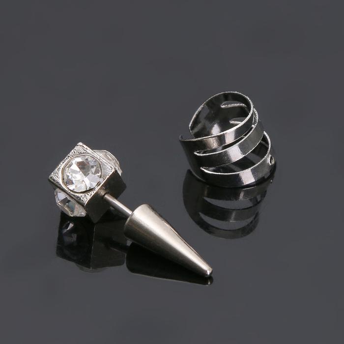 Пирсинг в ухо Шип и кольцо, цвет белый в серебре, фас 12 пар