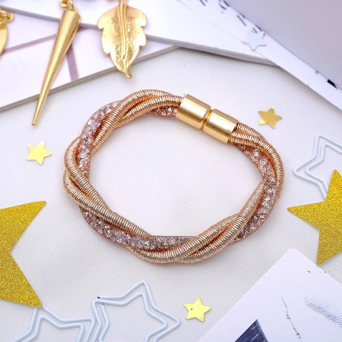 Браслет Стардаст плетение с нитью, цвет розовое золото