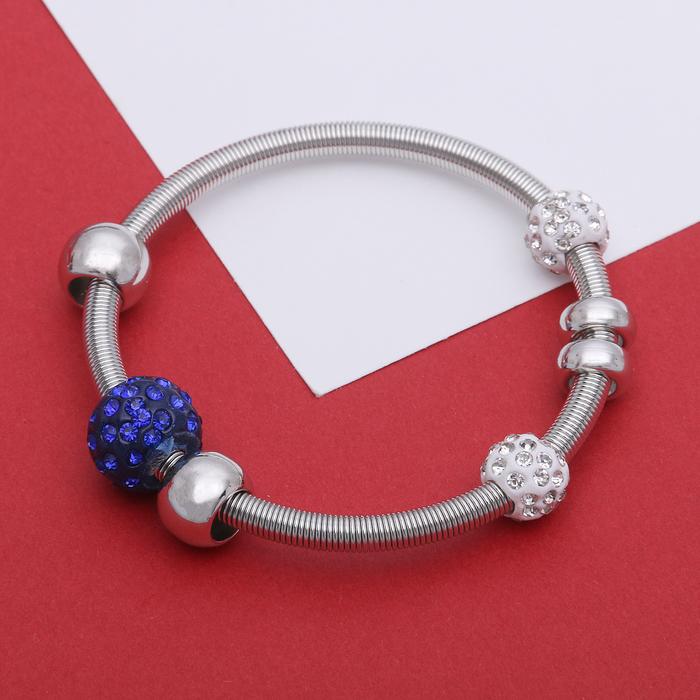 Браслет Марджери на резинке, бусины, цвет бело-синий в серебре