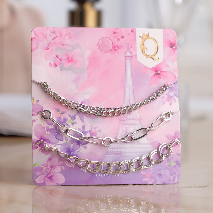 Браслет металл Романтик цепочки, набор 3 штуки, цвет серебро