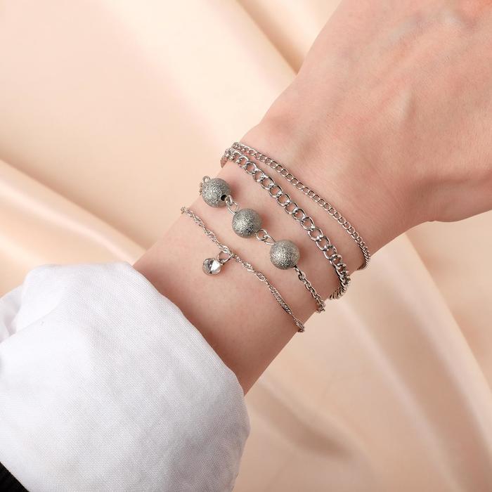 Браслет металл Романтик бусины и капля, набор 3 штуки, цвет серебро