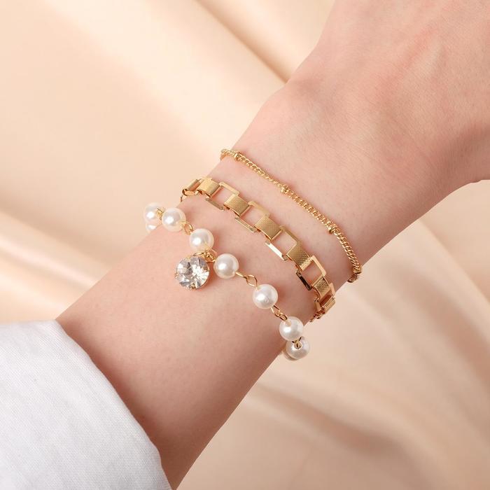 Браслет жемчуг Романтик капля, набор 3 штуки, цвет белый в золоте