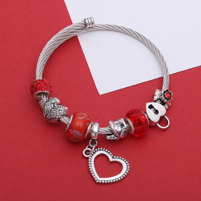 Браслет-пружинка Марджери, цвет красный в серебре