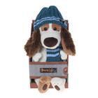 """Мягкая игрушка """"Бартоломей"""" в голубой шапке и шарфе, 33 см"""
