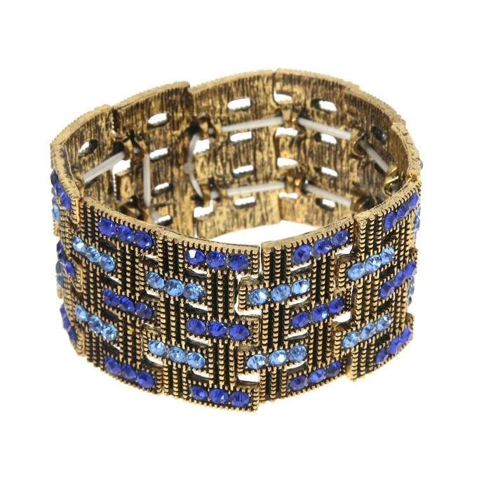 Браслет со стразами Мерцающий шик широкий, строчки, цвет синий в чернёном золоте