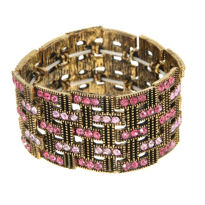 Браслет со стразами Мерцающий шик широкий, строчки, цвет розовый в чернёном золоте