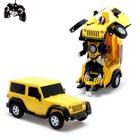 Робот-трансформер радиоуправляемый Jeep Wrangler, работает от аккумулятора, масштаб 1:14, mz 2825P, цвет жёлтый