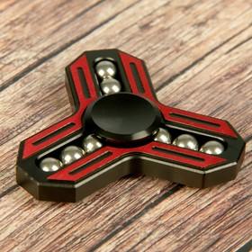 """Спиннер """"Альфа"""", красно-черный, с хромированными шариками, 6*6 см"""