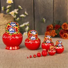 Матрёшка «Цветы», красный платок, 10 кукольная, 14 см, люкс