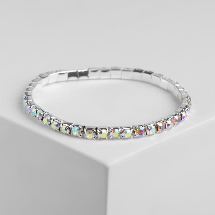 Браслет со стразами Лёд 1 ряд, цвет радужный в серебре, 4 мм