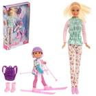 """Кукла модель """"Лена"""" с малышкой на лыжах, с аксессуарами, МИКС"""
