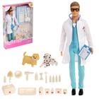 """Кукла модель """"Ветеринар"""" с животными и аксессуарами"""