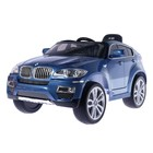Электромобиль BMW X6, EVA колёса, кожаное сидение, цвет голубой глянец