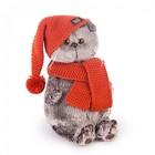 """Мягкая игрушка """"Басик"""" в вязаной шапке и шарфе, 22 см"""
