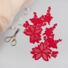 Аппликации пришивные «Лейсы», 16 × 6,5 см, пара, цвет красный