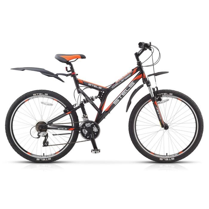 Велосипед 26 Stels Challenger V, V010, цвет чёрный/серый/оранжевый, размер 20
