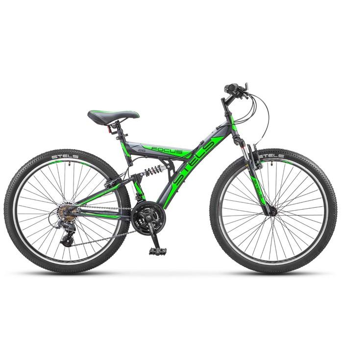 Велосипед 26 Stels Focus V, V030, 18 скоростей, цвет чёрный/зелёный, размер 18