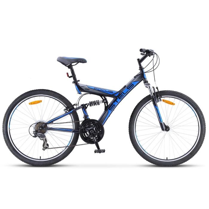 Велосипед 26 Stels Focus V, V030, 18 скоростей, цвет чёрный/синий, размер 18