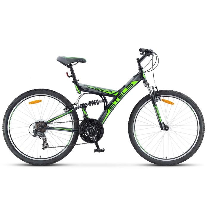 Велосипед 26 Stels Focus V, V030, 21 скорость, цвет чёрный/зелёный, размер 18