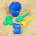 Наборы для игры в песке №107: ведро, грабли, совок, 2 формочки
