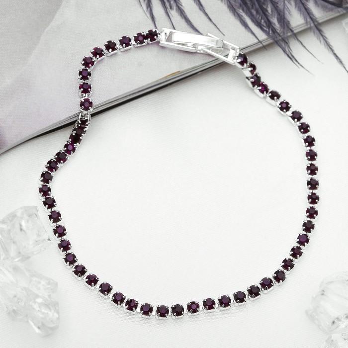 Браслет со стразами Лёд элегантность, 1 ряд, цвет фиолетовый в серебре