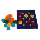 """Дидактическая игра из ткани """"Синий квадрат"""", пуговицы с шагом 5 см и набор фигур для работы   324655"""
