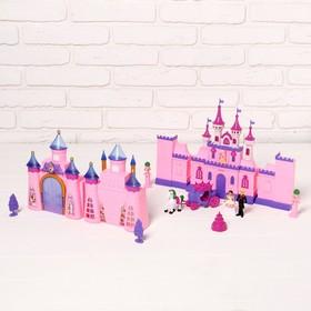 Кукольный замок 2 в 1: 2 замка, карета с лошадкой, мебель, аксессуары, световые и звуковые эффекты