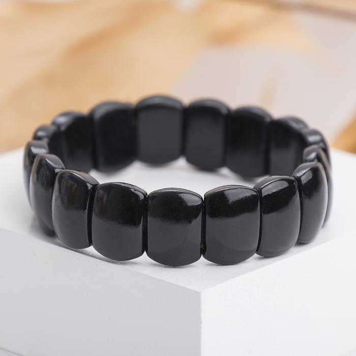 Браслет пластина мини Агат чёрный