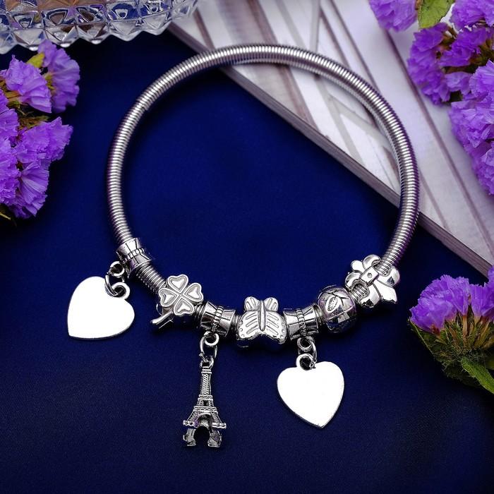 Браслет металл Марджери символы удачи, цвет серебро