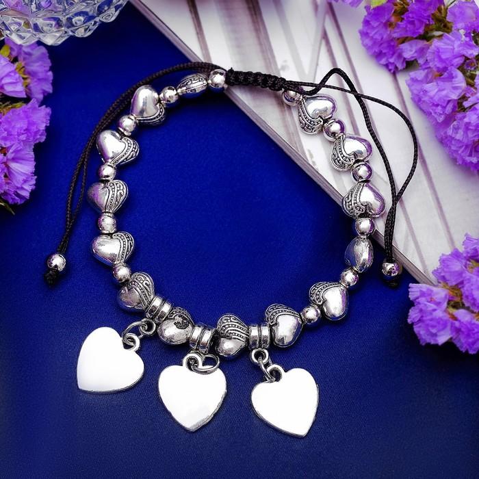 Браслет металл Марджери затягивающийся, сердце, цвет серебро