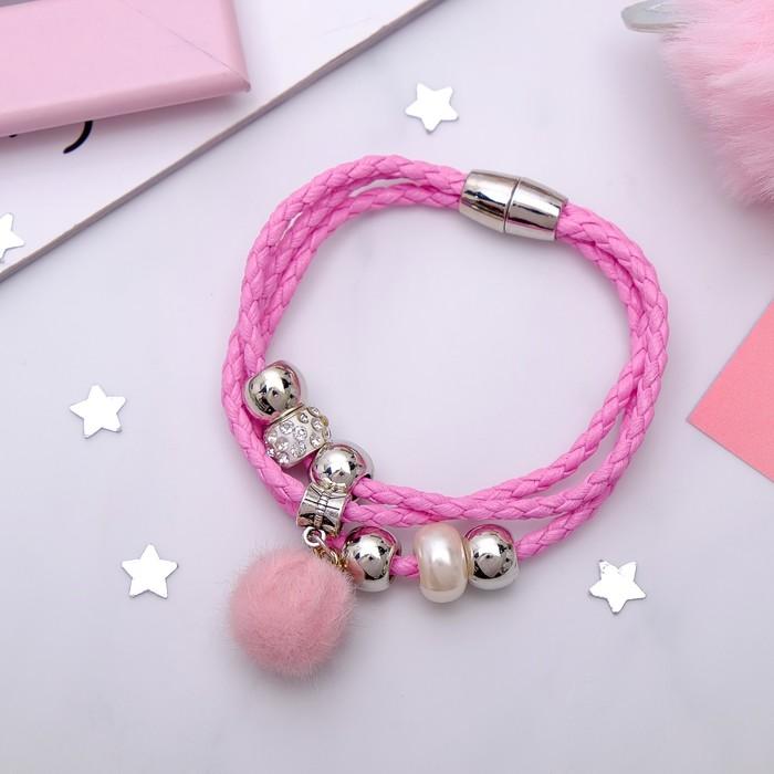 Браслет кожа Марджери тройной с помпоном, цвет розовый