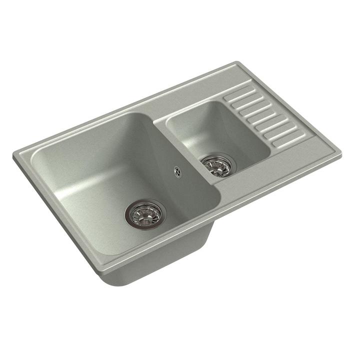 Мойка кухонная из камня Granfest ECO-21K, 740х480 мм, цвет серый