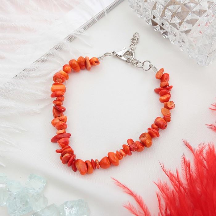 Браслет крошка 1 нить Коралл оранжевый