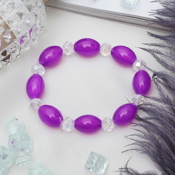 Браслет Агат с хрусталем рис, цвет фиолетовый