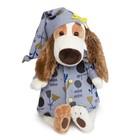 """Мягкая игрушка """"Бартоломей"""" в голубой пижаме в цветочек, 27 см"""