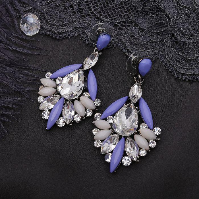 Серьги ассорти Модница, цвет фиолетово-белый
