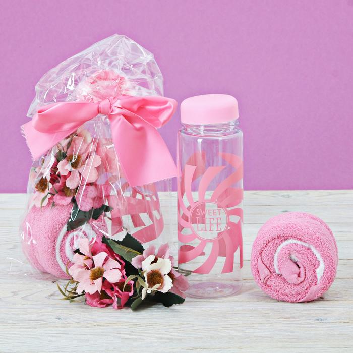 Набор Sweet life,бутылка для воды, полотенце