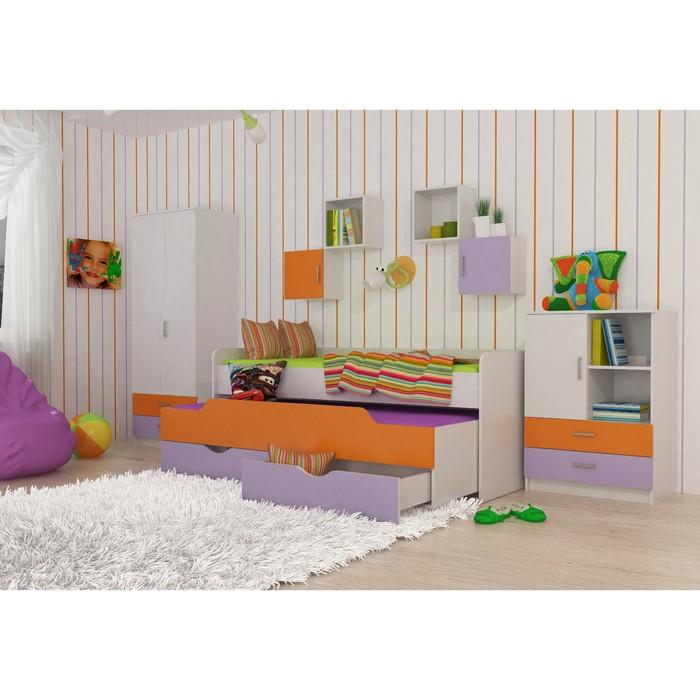 Комплект мебели Витамин, кровать, комод, шкаф, полки 4 шт, цвет белый/сиреневый/оранжевый   378118