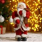 Дед Мороз  в красной шубке с брёвнышком 29 см