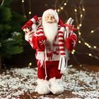 Дед Мороз в вязаном костюме с лыжами и мешком 30 см