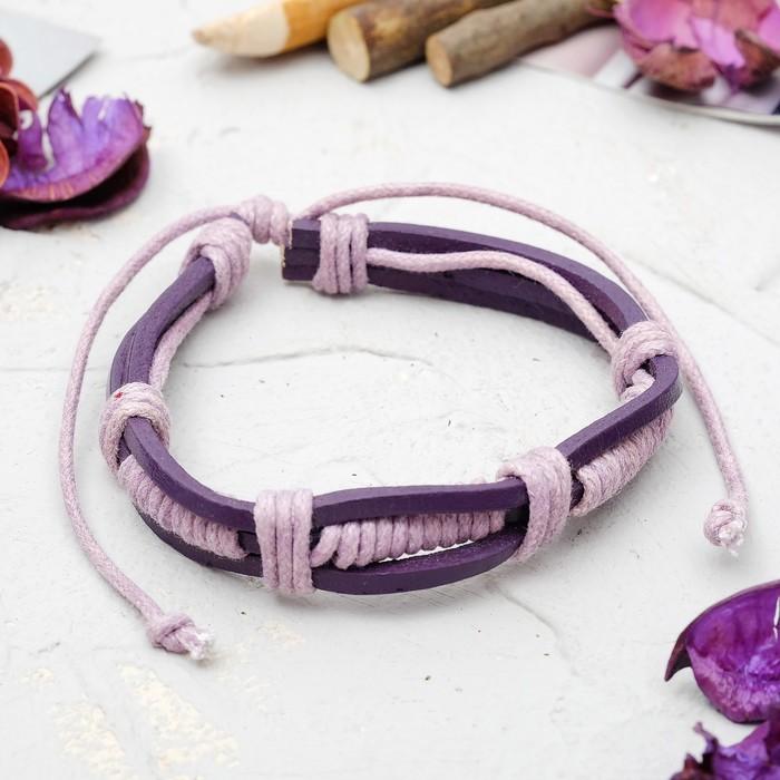 Браслет кожа Переплетение, цвет фиолетовый