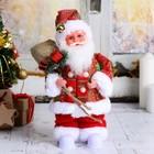 """Дед Мороз """"Красный колпак с подарками"""" подсветка, двигается, русская мелодия"""